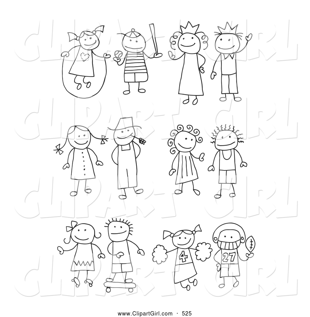 Clip art of a coloring page of a stick girl juming rope boy playing baseball king queen farmer and wife skating girl skateboarding boy cheerleader
