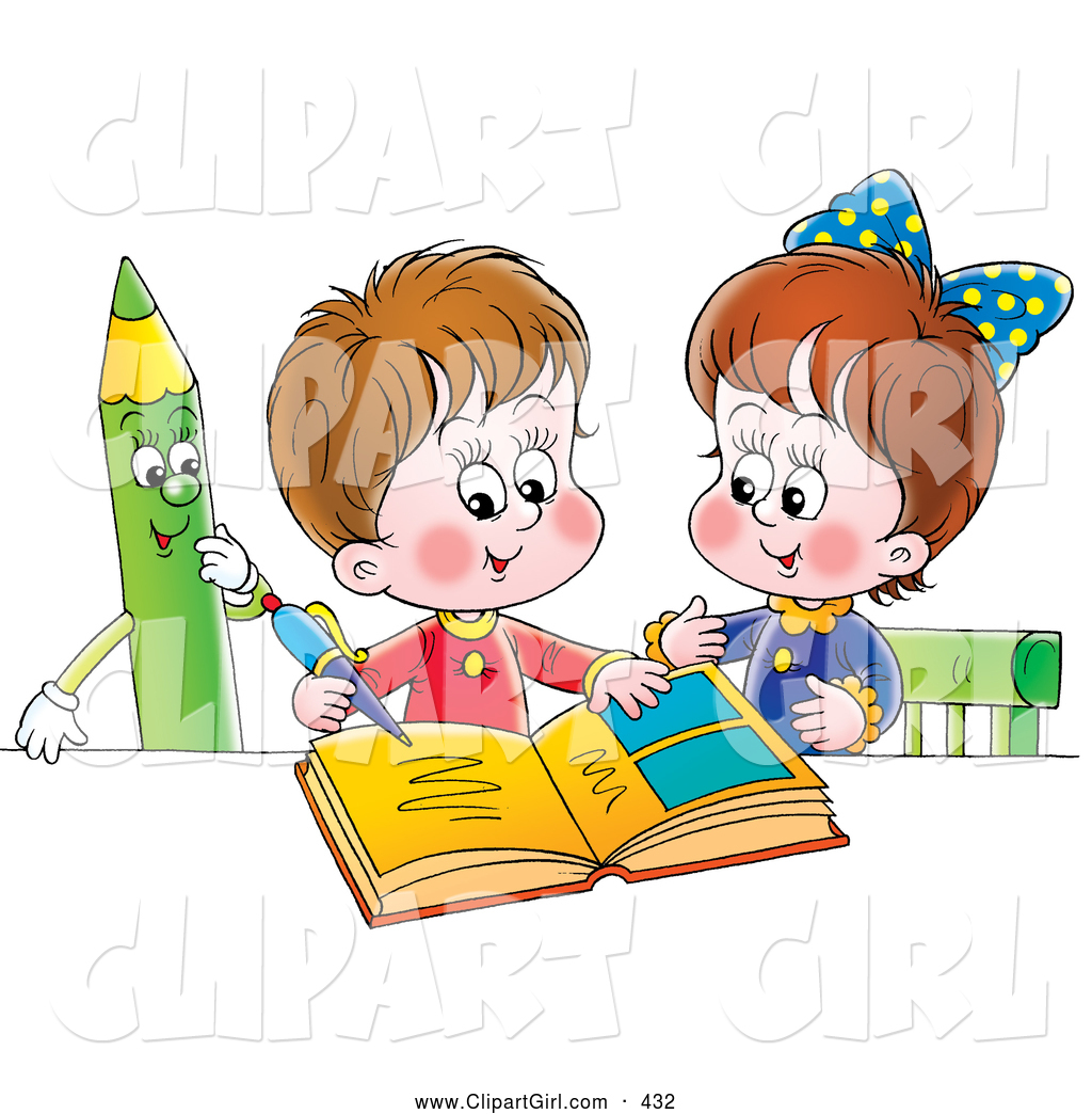 Clip Art Of A Cute Little Boy And Girl Studying Together Green Colored Pencil