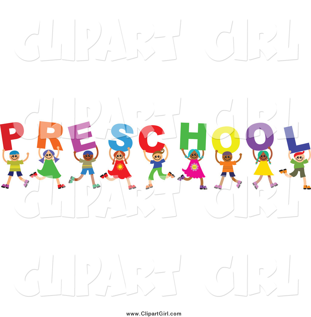 Clip Art of a Diverse Group of Kids Spelling the Word ...