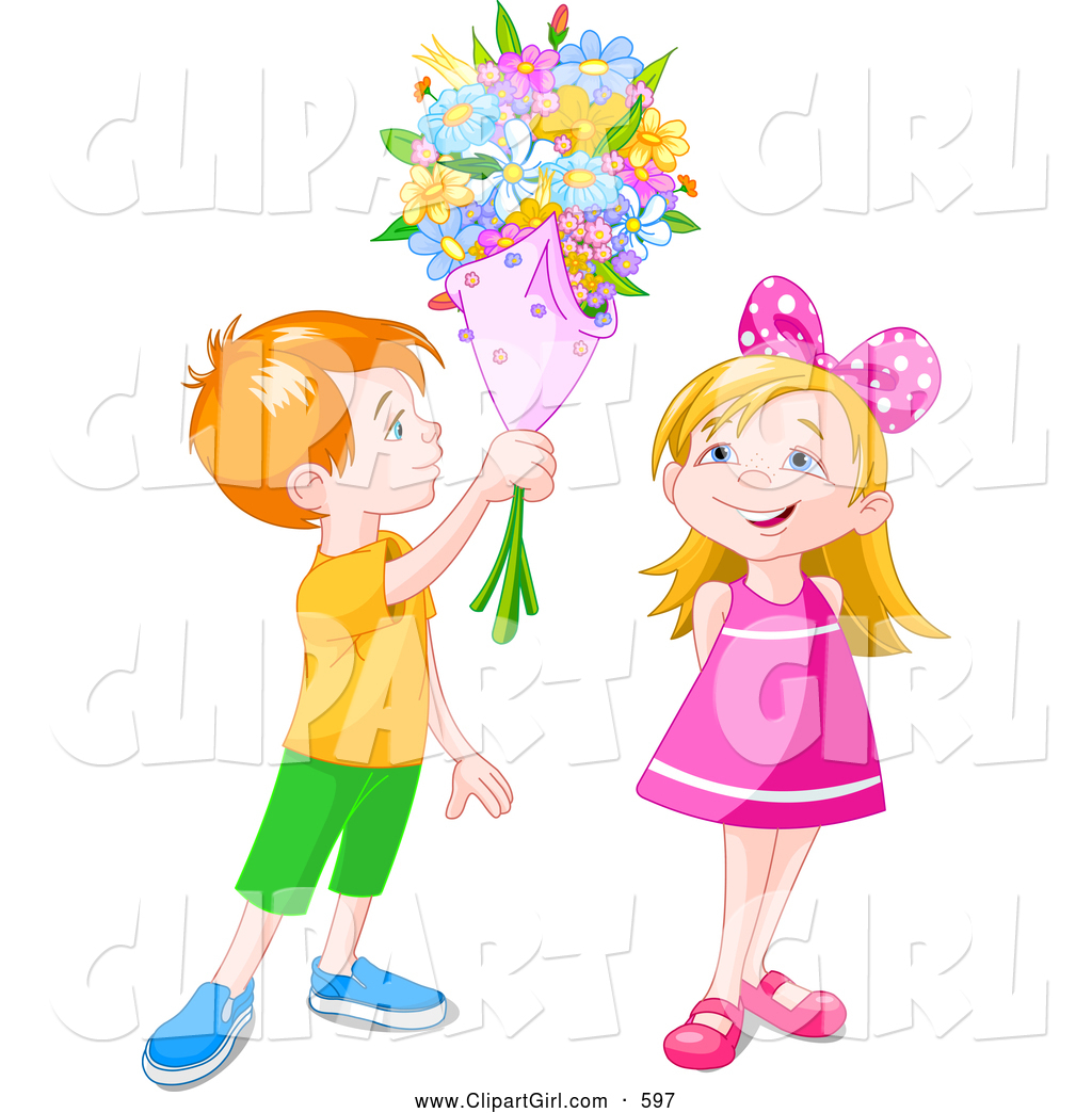 clipart girl holding flowers - photo #15