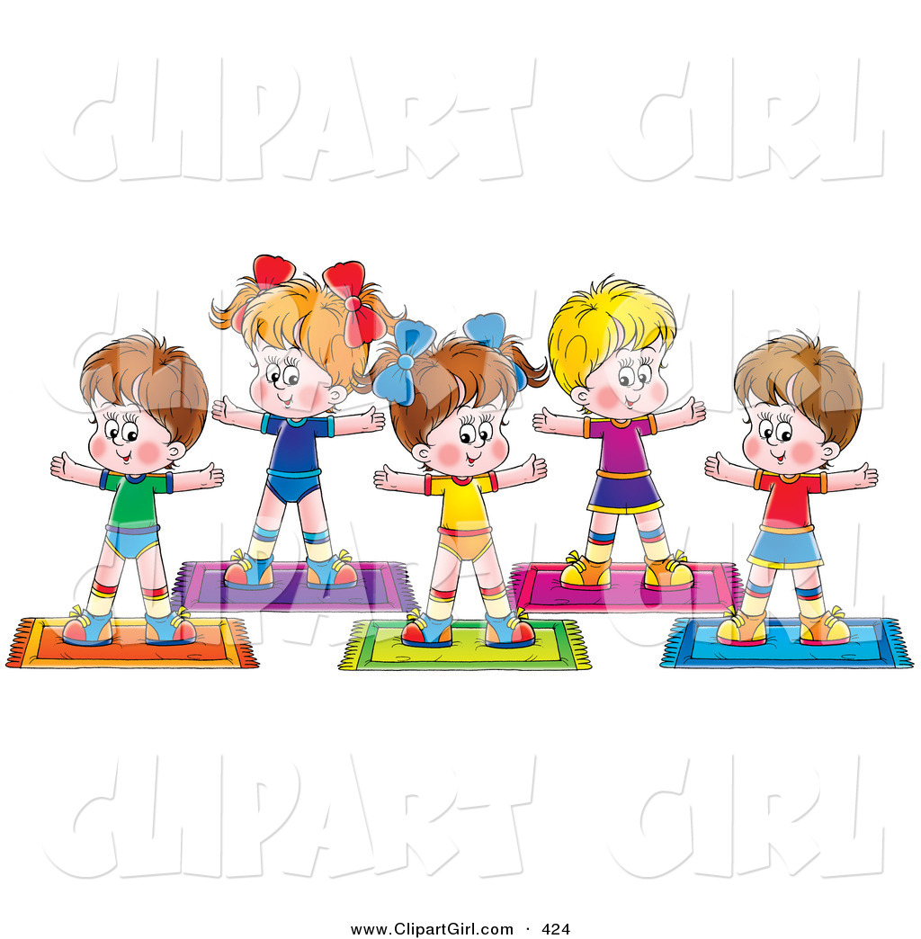 Clip art of a group of healthy children exercising together on yoga