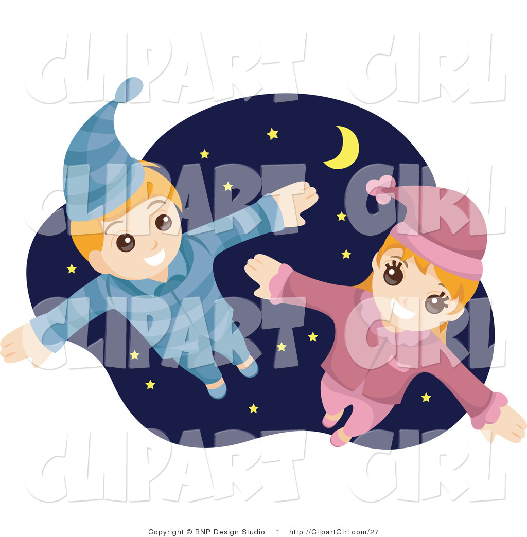 Clip Art of a Happy Boy and Girl Flying in Their Pajamas ...