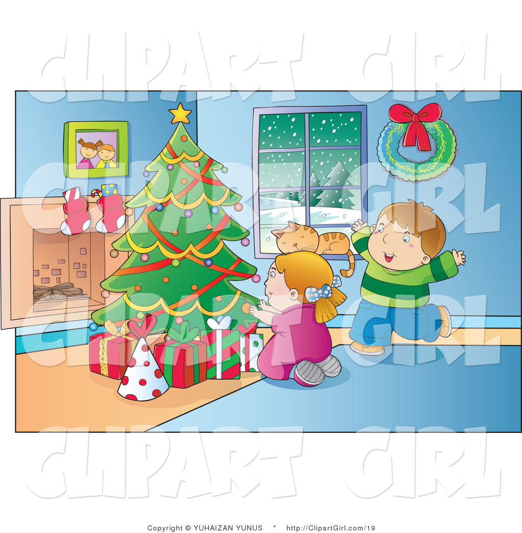 Clip Art of a Happy Boy and Girl Ready to Open Their ...