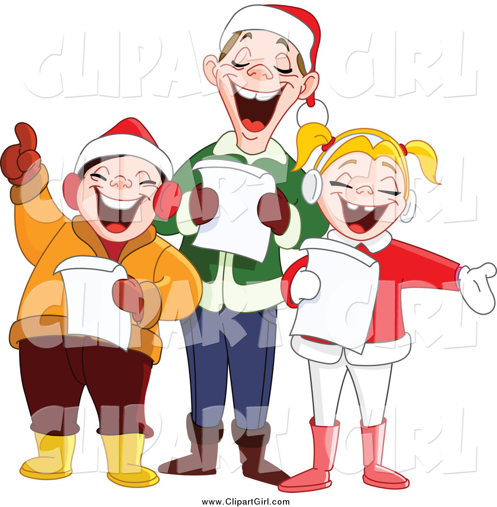 Clip Art of a Happy Singing Family at Christmas Time by ...