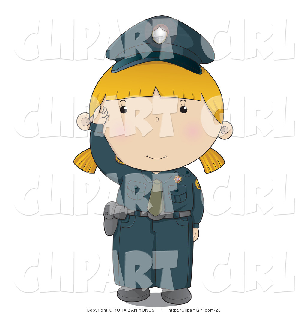 Clip Art of a Police Woman in a Blue Uniform Waving Hello by ...