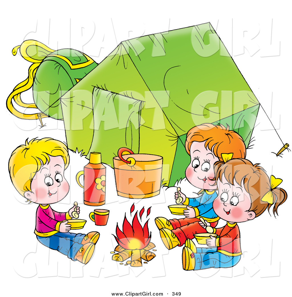Trio Of Children Eating Around A Campfire Outside Their Green Tent On White Background