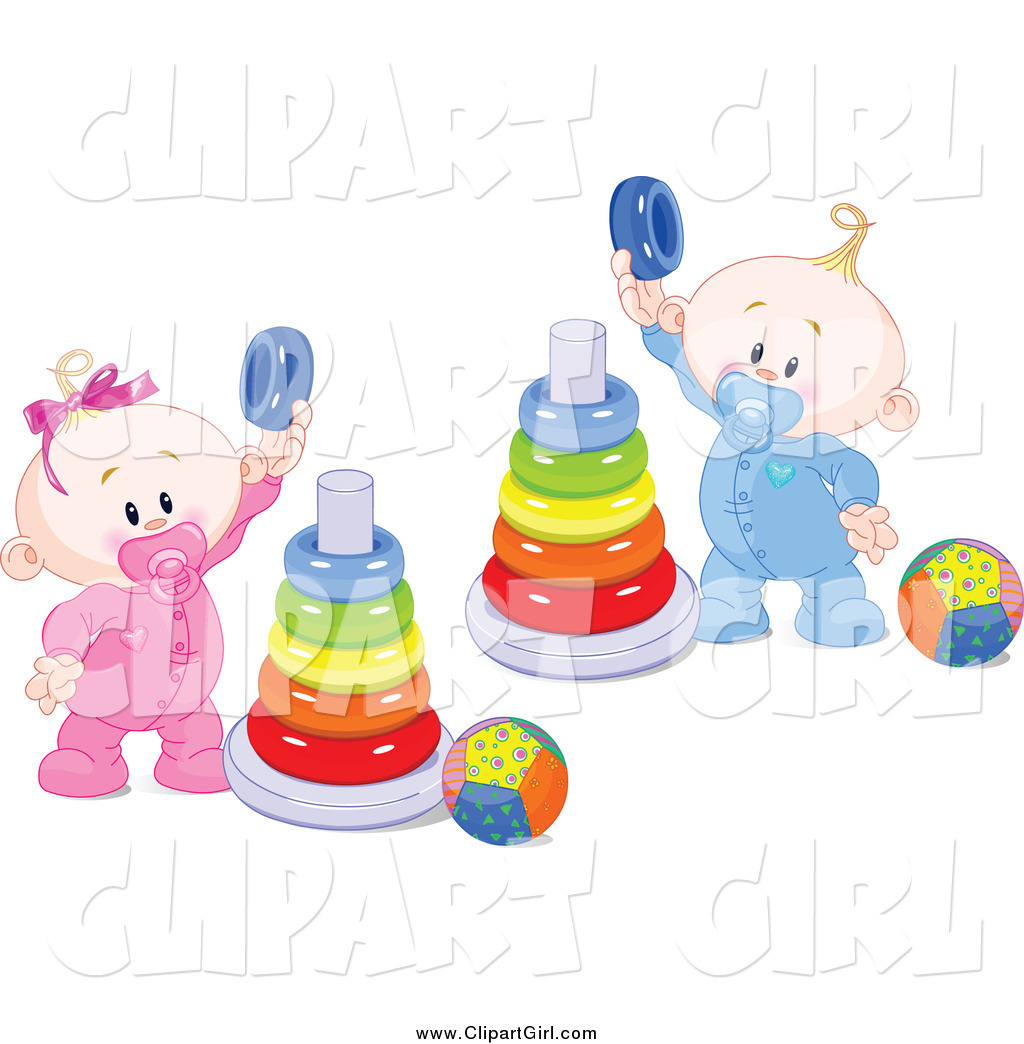 Clip Art of a White Twin Baby Boy and Girl Playing with Ring ...