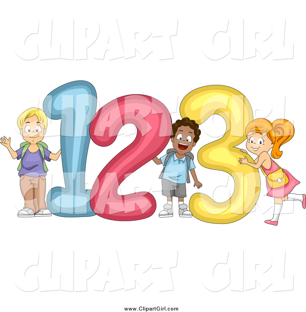Larger preview clip art of cute diverse school children with 123