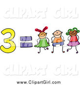 Clip Art of 3 of 3 Equals Three Stick Kids by Prawny