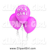 Clip Art of 3d Its a Girl Baby Balloons by Stockillustrations