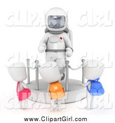 Clip Art of 3d School Kids Checking out an Astronaut Space Suit Display at a Museum by BNP Design Studio