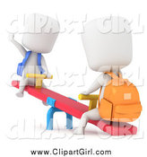 Clip Art of 3d School Kids Playing on a See Saw by BNP Design Studio