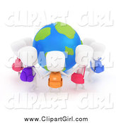 Clip Art of 3d White School Children Holding Hands Around a Globe by BNP Design Studio