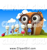 Clip Art of 3d White Students Walking into an Owl School by BNP Design Studio
