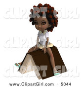 October 25th, 2015: Clip Art of a 3d Black School Girl Sitting on a Book by Ralf61