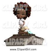 Clip Art of a 3d Black School Girl with an Afro, Kneeling on a Giant Book by Ralf61