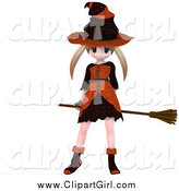Clip Art of a 3d Blond Caucasian Witch Girl Flying on Her Broom by Ralf61