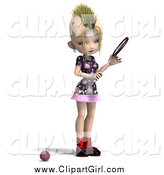 Clip Art of a 3d Blond Mohawk Girl Playing Tennis by Ralf61