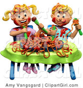 Clip Art of a 3d Boy and Girl Twins Making a Mess During a Spaghetti Dinner by Amy Vangsgard