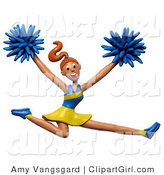 Clip Art of a 3d Energetic Leaping Cheerleader, Cheering for Her Team by Amy Vangsgard