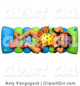 Clip Art of a 3d Girl Listening to an Mp3 Player and Floating in a Pool on a Raft by Amy Vangsgard