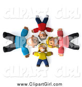 Clip Art of a 3d Happy White Family Laying on Their Backs in a Circle, Looking up by Julos