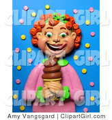 Clip Art of a 3d Red Headed Girl Smiling at a Chocolate Ice Cream Cone by Amy Vangsgard