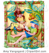 Clip Art of a 3d Relaxing Girl Reading a Book and Imagining Shes in a Jungle with a Toucan and Monkey by Amy Vangsgard