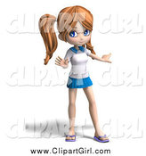 Clip Art of a 3d Teenage School Girl Gesturing by Ralf61