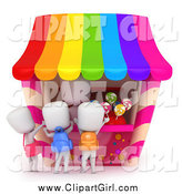 Clip Art of a 3d White School Kids Buying Candy at a Stand by BNP Design Studio