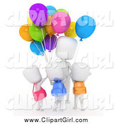 Clip Art of a 3d White School Kids Buying Colorful Balloons by BNP Design Studio