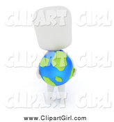 Clip Art of a 3d White Student Holding a Desk Globe by BNP Design Studio