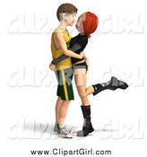 Clip Art of a 3d White Teen Couple Embracing by Ralf61