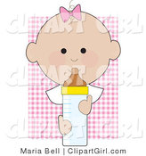 Clip Art of a Baby Girl with a Pink Bow on the Top of Her Head, Holding a Baby Bottle on a Pink Background by Maria Bell