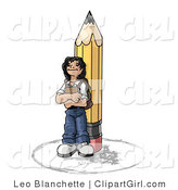 Clip Art of a Back to School Girl Elementary School Student Standing by a Giant No 2 Pencil, Wearing a Backpack and Holding a Book Clipart Illustration by Leo Blanchette