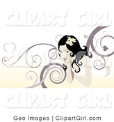 Clip Art of a Beautiful Woman with a Marroon and Yellow Swirl Background by AtStockIllustration