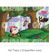 Clip Art of a Big Bad Wolf Watching Little Red Riding Hood Walking Along from Behind a Tree in a Forest by Hit Toon