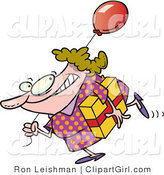 Clip Art of a Birthday Girl in a Polka Dot Dress, Carrying a Present and a Red Balloon by Toonaday