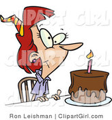 Clip Art of a Birthday Woman with Candle on a Chocolate Birthday Cake by Toonaday