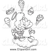 Clip Art of a Black and White Angel Girl in Heaven with Ice Cream by Ron Leishman