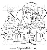 Clip Art of a Black and White Christmas Girl Sitting on Santas Lap by Visekart