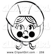Clip Art of a Black and White Coloring Page of a Pretty Female Pilgrim with Flushed Cheeks, Wearing a Bonnet over Her Hair by Andy Nortnik