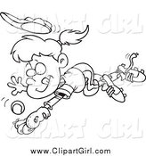 Clip Art of a Black and White Girl Diving to Catch a Baseball by Toonaday