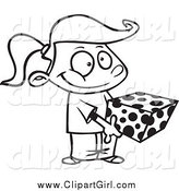 Clip Art of a Black and White Girl Holding a Gift Box by Toonaday