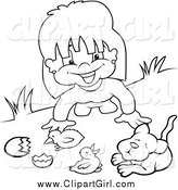 Clip Art of a Black and White Happy Girl Playing with Animals by Dero