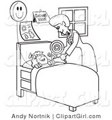 Clip Art of a Black and White Outline of a Friendly Registered Nurse Bending over a Sick Girl in a Hospital Bed, Handing Her a Balloon by Andy Nortnik
