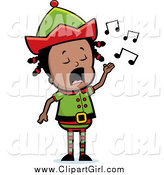 Clip Art of a Black Elf Girl Singing Christmas Carols by Cory Thoman