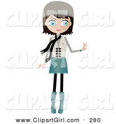 Clip Art of a Black Haired, Blue Eyed White Woman Dressed in Blue and Beige, Wearing a Hat and Scarf, Standing and Holding One Arm out by Melisende Vector