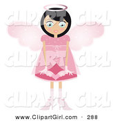 Clip Art of a Black Haired Caucasian Fairy Woman in a Pink Dress and Heels, with Big Pink Wings and a Halo, Holding a Winged Heart in Front of Her by Melisende Vector