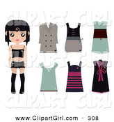 Clip Art of a Black Haired Caucasian Female Paper Doll Wearing Black Undergarments, with a Brown Coat and Dress and Green, Pink and Black Dresses by Melisende Vector